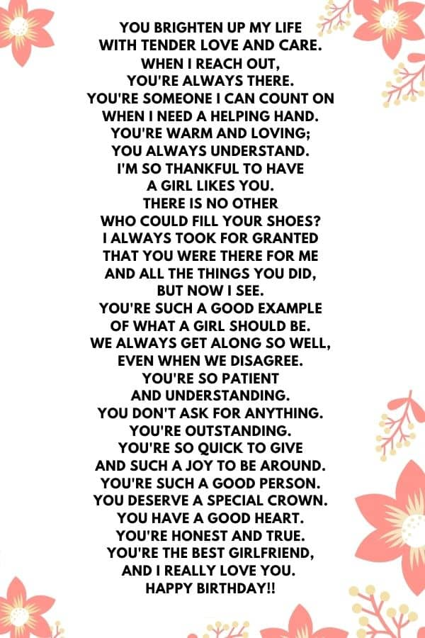 Poems for Girlfriend to Tell Your Girlfriend on Her Birthday